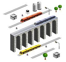 isometrische spoorweg vector