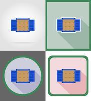 vracht container levering plat pictogrammen vector illustratie