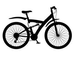 sportfietsen met de achterste schokdemper zwarte silhouet vectorillustratie