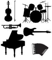 stel pictogrammen silhouetten van muziekinstrumenten vectorillustratie