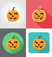 Halloween pompoen plat pictogrammen vector illustratie