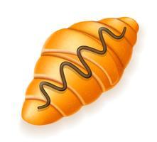 knapperige croissant besprenkeld met chocolade vectorillustratie vector