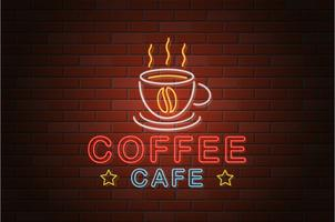 gloeiende neon uithangbord koffie café vectorillustratie
