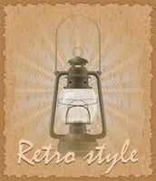 retro-stijl poster oude kerosine lamp vectorillustratie