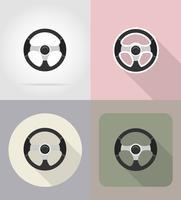 auto stuurwiel plat pictogrammen vector illustratie
