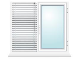 kunststof raam met jaloezie vector