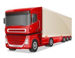 grote rode vrachtwagen vectorillustratie vector