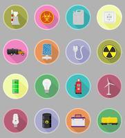 macht en energie plat pictogrammen plat pictogrammen vector illustratie