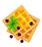 Belgische wafel met honing zoet dessert voor ontbijt vectorillustratie vector