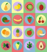 vruchten platte set pictogrammen met de schaduw vectorillustratie