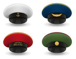 stel pictogrammen professionele uniforme caps vectorillustratie
