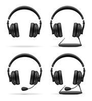 pictogrammen akoestische hoofdtelefoon vectorillustratie instellen