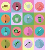 tuingereedschap platte iconen vectorillustratie