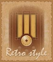 retro stijl poster oude radio vectorillustratie