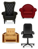 pictogrammen leunstoel meubilair vectorillustratie instellen