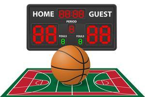 basketbal sport digitale scorebord vectorillustratie