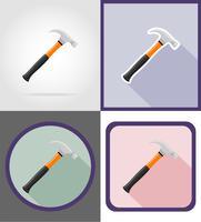 hamer reparatie en bouwgereedschap plat pictogrammen vector illustratie