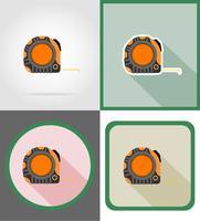 roulette reparatie en bouwgereedschap plat pictogrammen vector illustratie