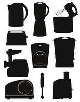 stel pictogrammen elektrische apparaten voor de keuken zwart silhouet vectorillustratie
