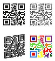 stel pictogrammen abstracte qr code vectorillustratie