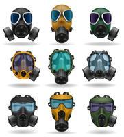 stel pictogrammen gasmasker vectorillustratie
