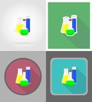 glazen reageerbuis met kleur vloeibare plat pictogrammen vector illustratie