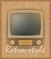 retro stijl poster oude tv vectorillustratie