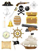 set van piraten iconen vectorillustratie