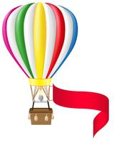 hete luchtballon en lege banner vectorillustratie