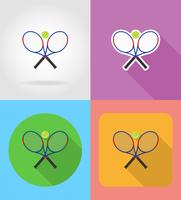 tennisracket en bal plat pictogrammen vector illustratie