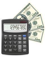 rekenmachine en dollars concept vectorillustratie vector