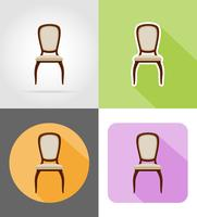 stoel meubilair ingesteld plat pictogrammen vector illustratie