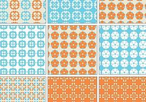Blauw en oranje Retro Vectorpatroonpak vector