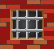 gevangenisstaven op bakstenen muurvector vector