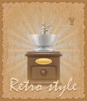retro-stijl poster oude koffiemolen vector illustratie