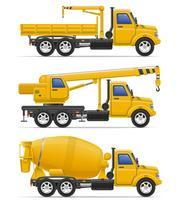 vrachtwagentjes bedoeld voor bouw vectorillustratie