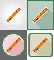 niveau reparatie en bouw hulpmiddelen plat pictogrammen vector illustratie