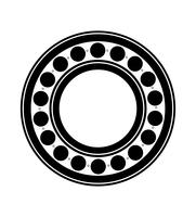 metalen kogellagers zwart silhouet overzicht vectorillustratie