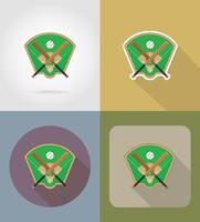 honkbalveld plat pictogrammen vector illustratio