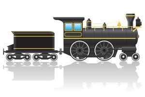 oude retro locomotief vectorillustratie