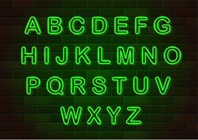 gloeiende neon letters Engelse alfabet vectorillustratie