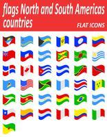 Vlaggen Noord- en Zuid-Amerika landen plat pictogrammen vector illustratie