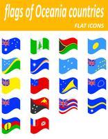 vlaggen van oceanië landen plat pictogrammen vector illustratie