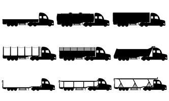 Stel pictogrammen vrachtwagens oplegger zwart silhouet vectorillustratie vector