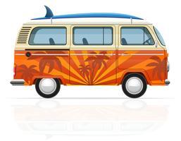 retro minivan met een surfplank vectorillustratie vector