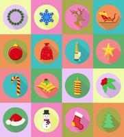 Kerstmis en Nieuwjaar plat pictogrammen vector illustratie