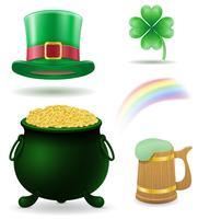 Saint Patrick's Day instellen pictogrammen voorraad vectorillustratie
