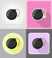 zwarte bom met brandende lont vlakke pictogrammen vector illustratie