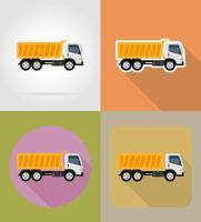 kipper vrachtwagen voor bouw plat pictogrammen vector illustratie