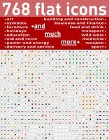 768 diverse reeks van vlakke pictogrammen en symbolen vectorillustratie vector